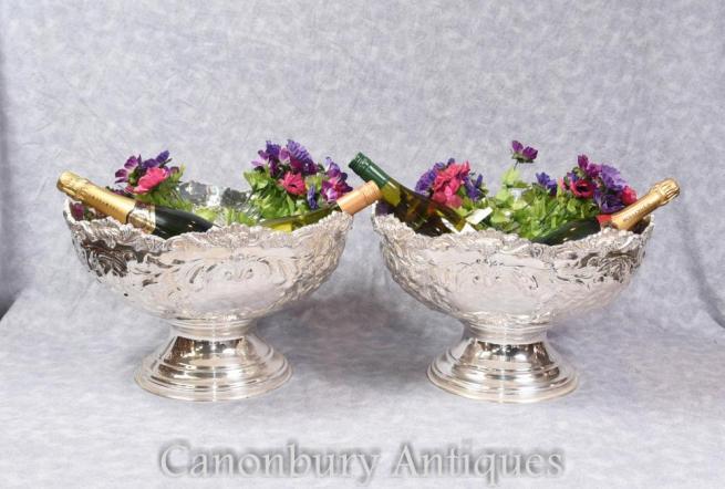 Pair Rococo Silver Plate Punch Bowls Planters Van Bergh NY