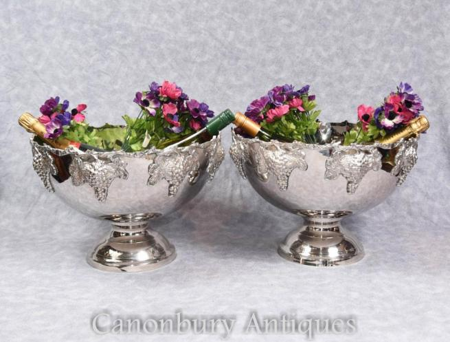 Pair Sheffield Silver Plate Punch Bowls English