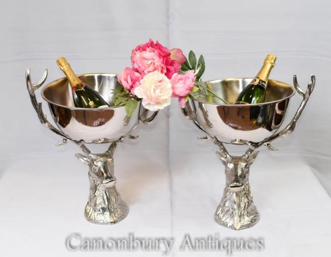 Pair Silver Plate Stag Champagne Cooler Punch Wine Bowl