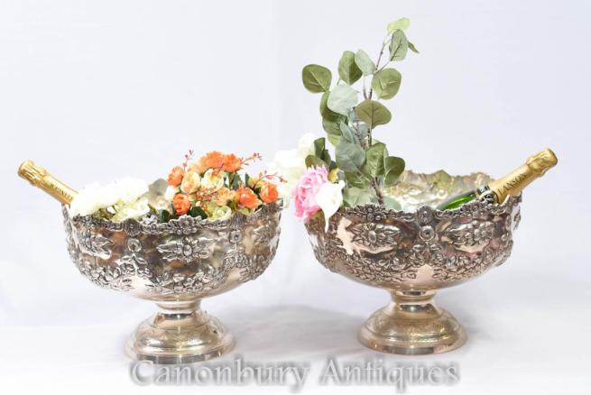Pair Victorian Silver Plate Rococo Punch Bowls Champagne Buckets Dishes