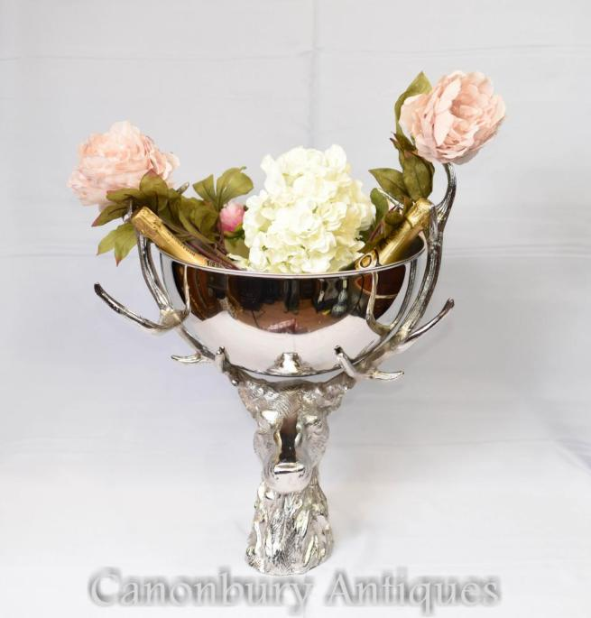 Silver Plate Stag Fruit Bowl Champagne Wine Bucket Cooler