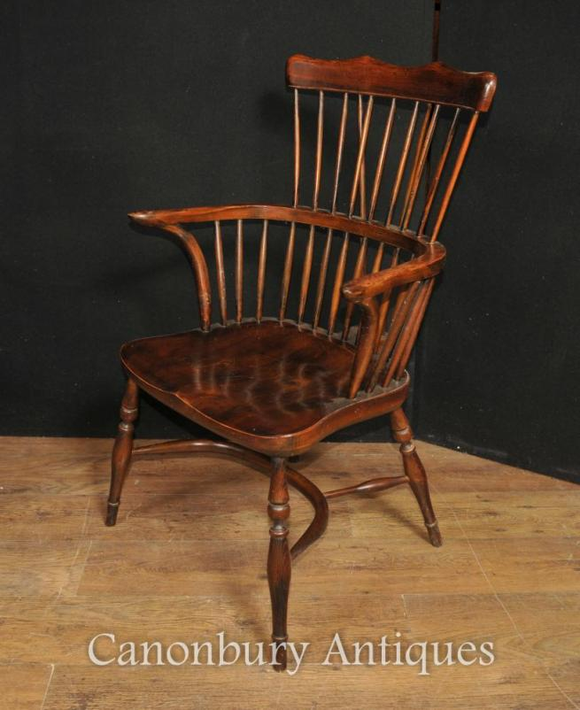 Single Antique Oak Windsor Arm Chair