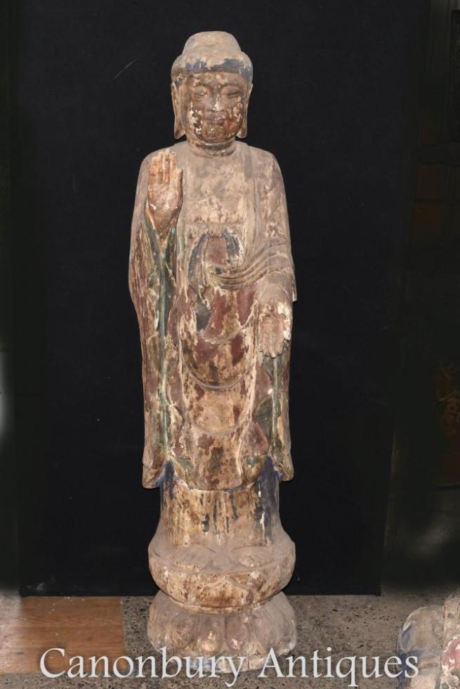 Standing Nepalese Buddha Statue - Hand Carved 6 ft Tall Buddhist