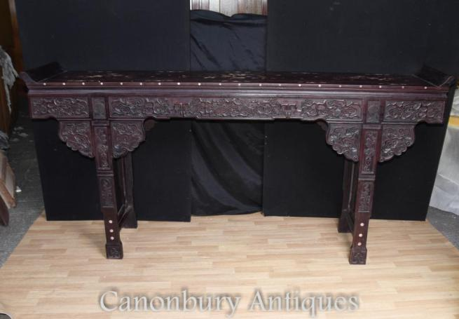 XL Chinese Hard Wood Altar Temple Table Mother of Pearl Inlay Console Tables