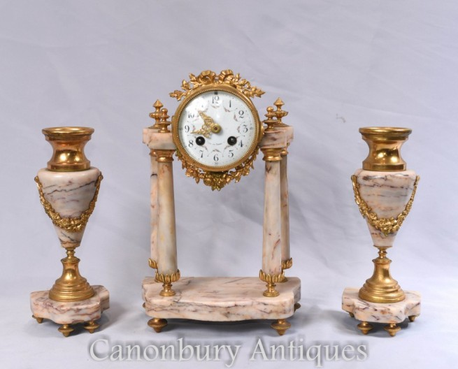 Antique Clock Set - French Empire Marble Mantle Clocks Garniture