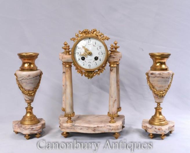 Antique Clock Set - French Empire Marble Mantle Clocks Garniture