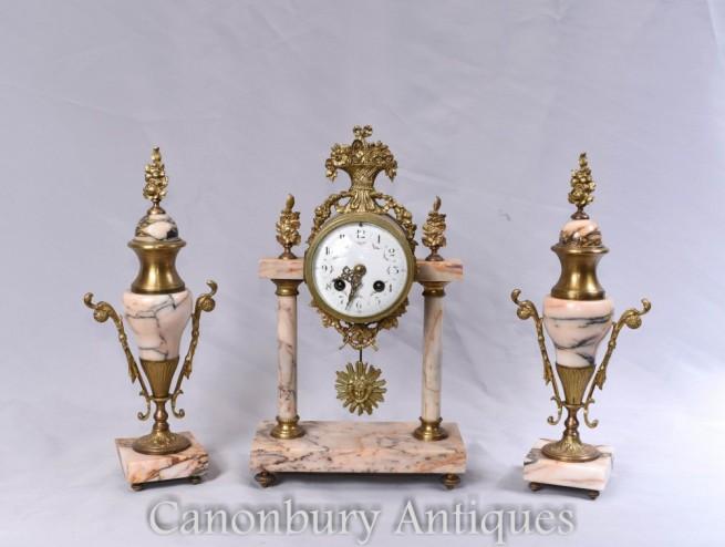 Antique Clock Set - French Mantle Gilt Clocks Garniture Set