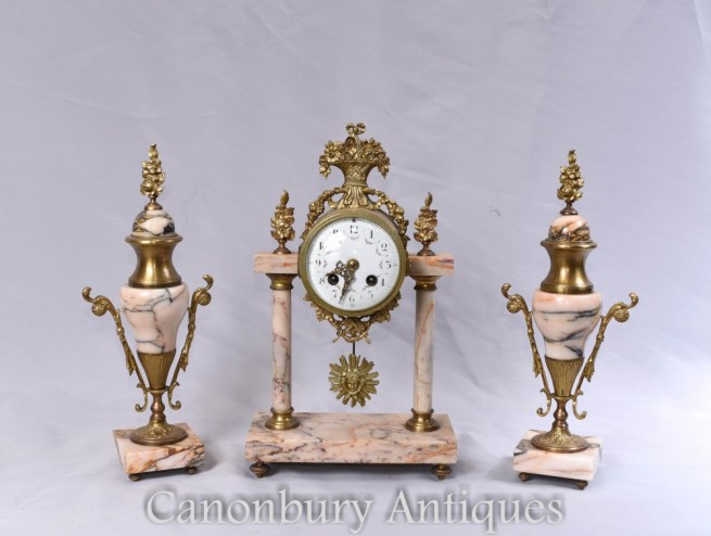 Antique Clock Set - French Mantle Gilt Clocks Garniture Set