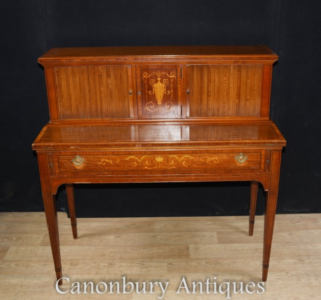 Antique Edwardian Desk Writing Table - Mahogany Sheraton