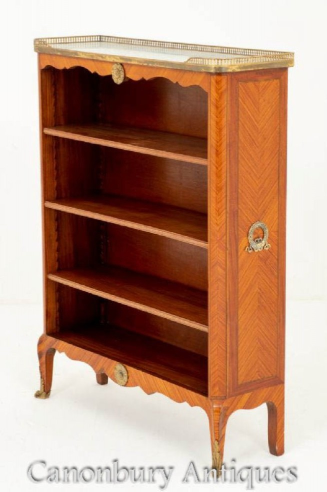Antique French Open Bookcase Satinwood Circa 1880