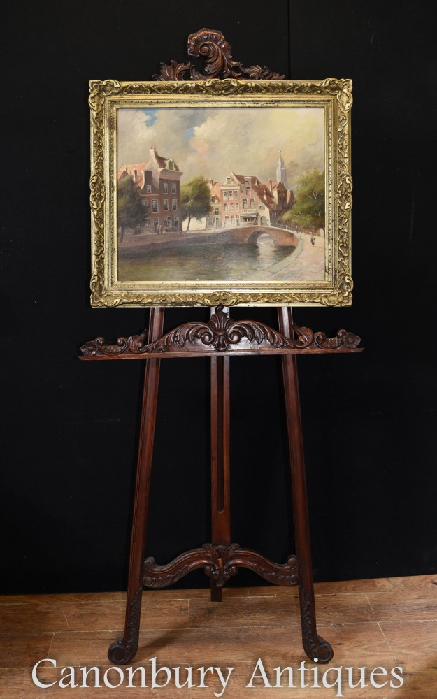 Antique Oil Painting Bruges River Scene Belgian