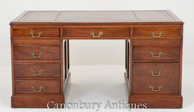 Antique Pedestal Desk in Mahogany