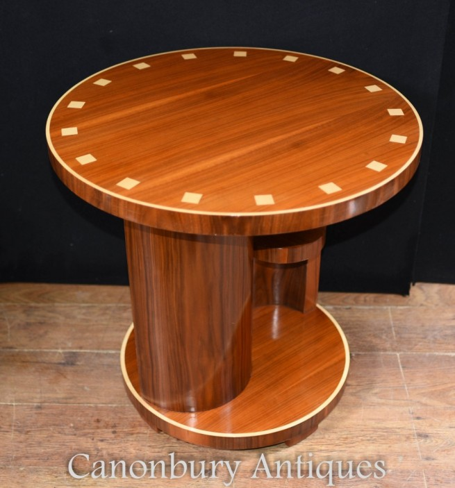 Art Deco Side Table - Vintage Rosewood Inlay