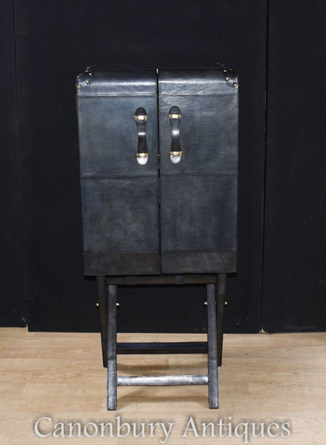 Aviator Cocktail Cabinet - Art Deco Leather Drinks Chest