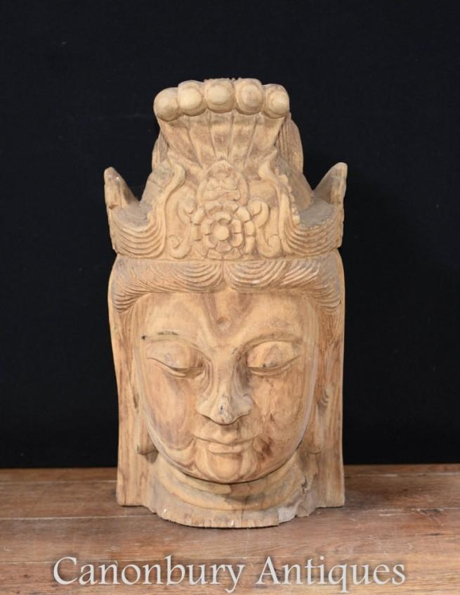 Carved Nepalese Buddha Bust Statue - Buddhist Art