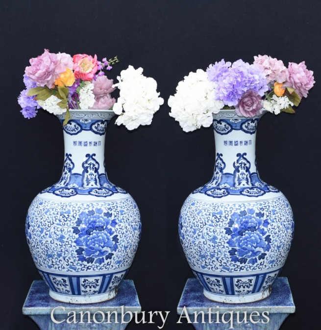 Chinese Blue and White Ming Urns - Chinese Temple Vases