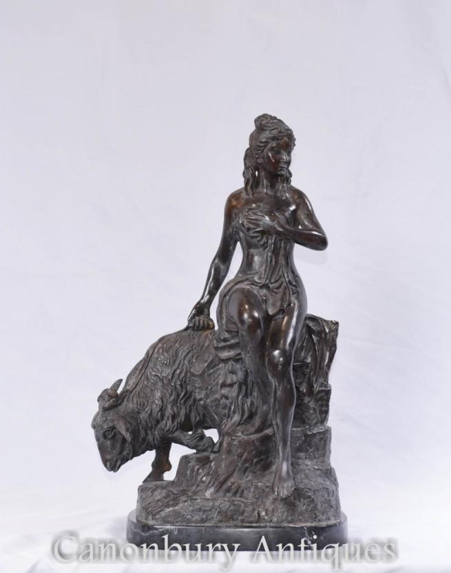 Classical Bronze Maiden Statue - Italian Goat Figurine Sculpture