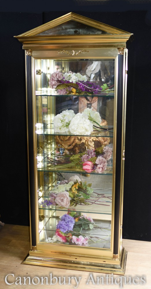 Empire Glass Display Cabinet - Tall Brass Case Chest