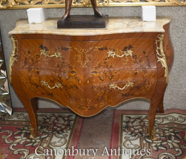 French Bombe Commode - Marquetry Inlay Chest of Drawers