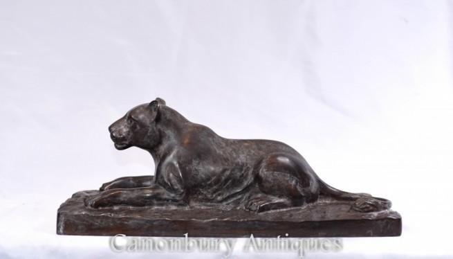 French Bronze Leopard Statue - Art Deco Cat
