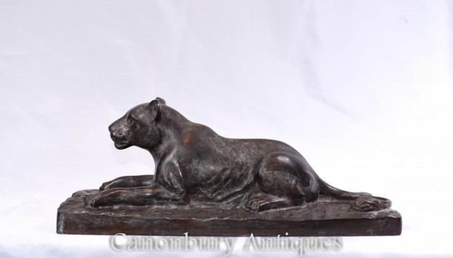 French Bronze Leopard Statue - Art Deco Cat