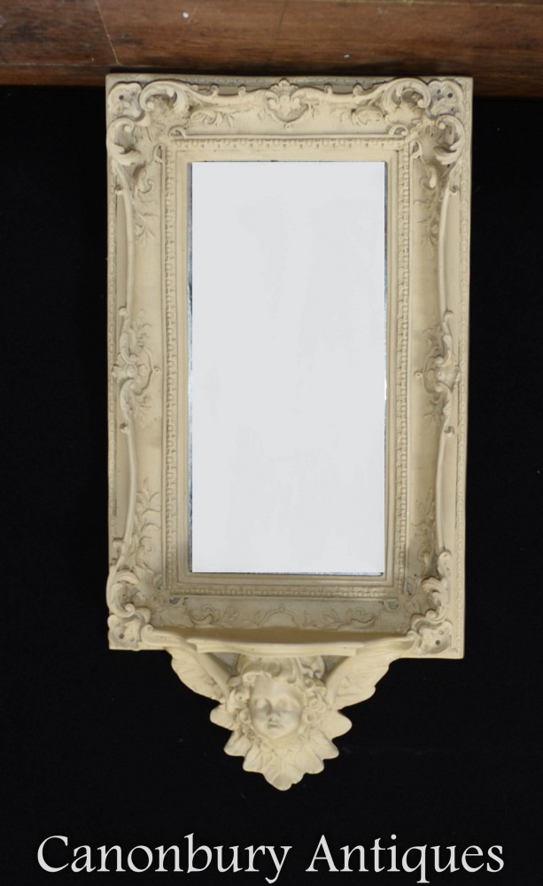 French Cherub Shelf Mirror - Intricate Frame