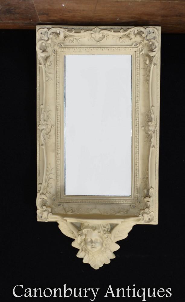 French Cherub Shelf Mirror - Intricate Frame