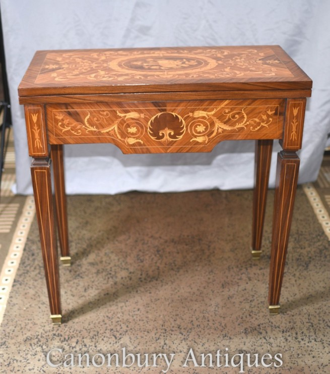 French Chess Games Table - Empire Marquetry Inlay