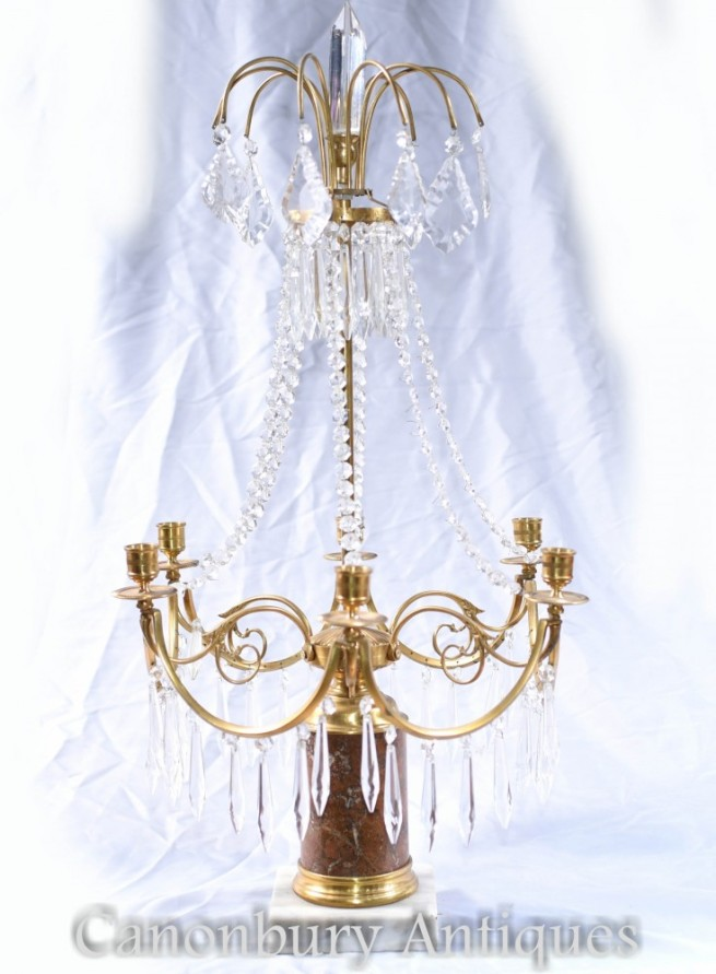 French Empire Lustre - Ormolu Candelabras Chandelier