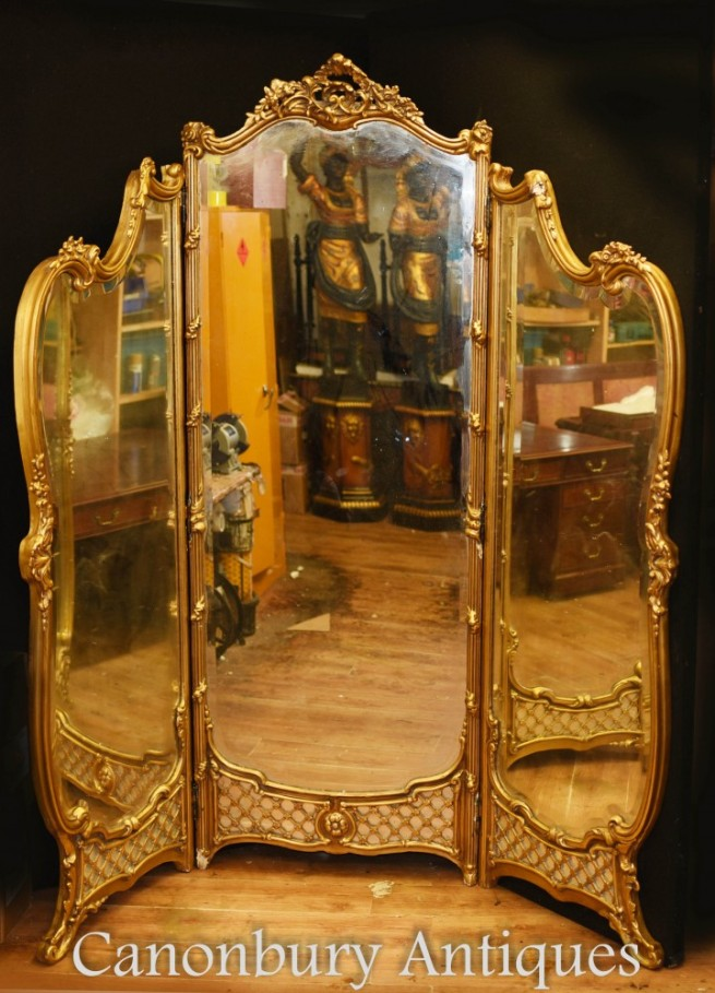 French Gilt Fold Mirror Screen Louis XVI