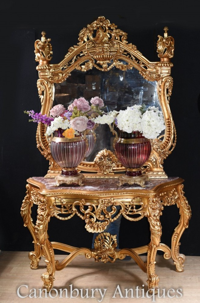 Italian Gilt Console Table and Mirror Set Rococo