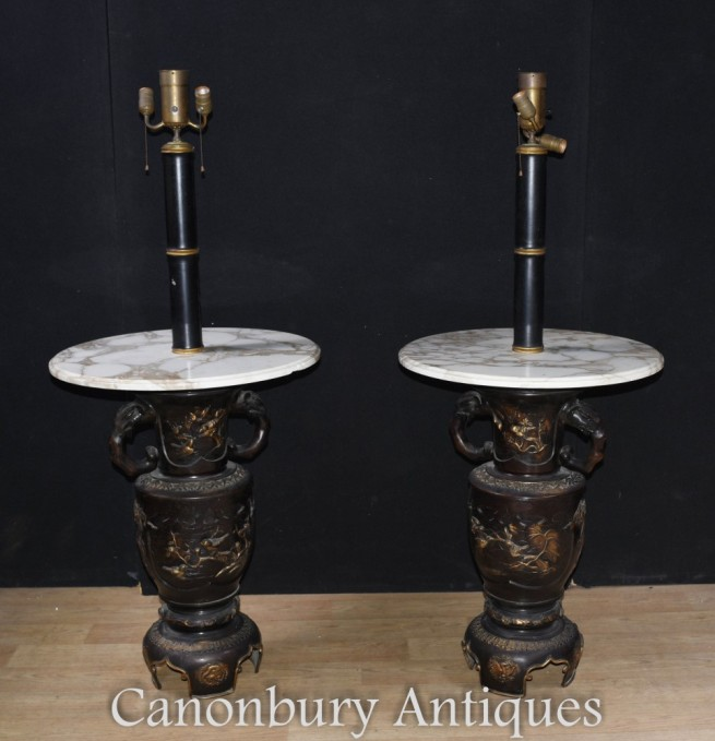 Japanese Antique Side Table Lamps - Bronze Base Lights