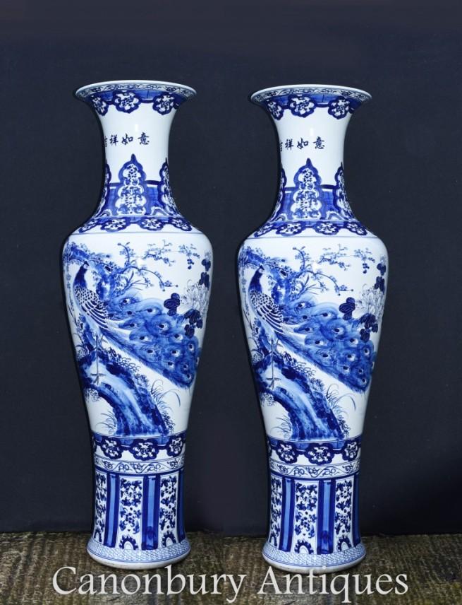 Large Blue and White Porcelain Urns - Chinese Jingdezhen Vases