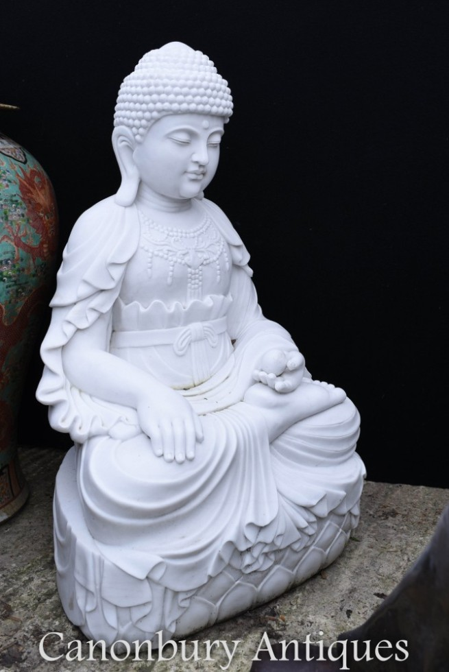 Large Marble Buddha Statue - Seated Nepalese Buddhist Carving Buddhism