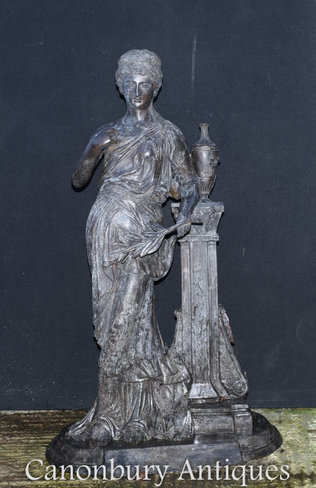 Large Roman Maiden Statue in Bronze - Classical Figurine