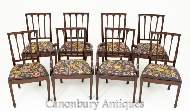 Mahogany Hepplewhite Dining Chairs Set 8 Antique Diners