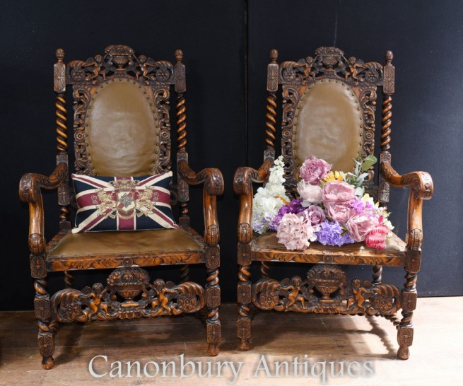 Pair Antique Walnut Arm Chairs - Carved Barley Twist Farmhouse