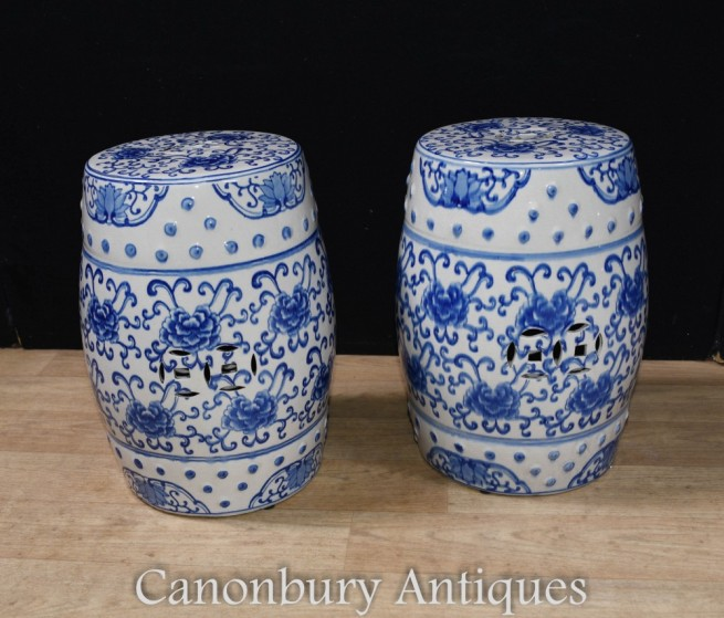 Pair Blue and White Porcelain Stools Garden Seats Urns