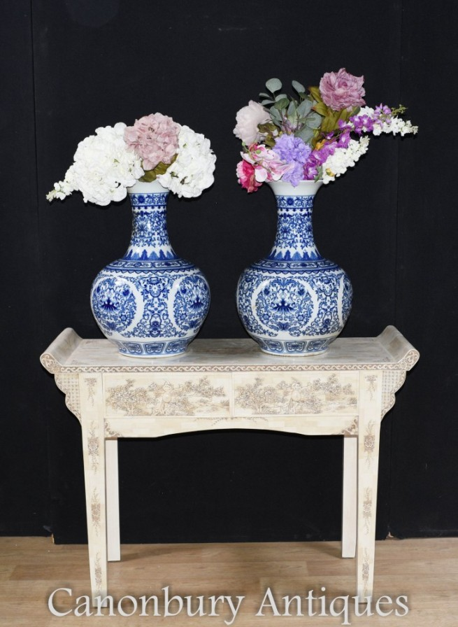 Pair Blue and White Porcelain Vases - Chinese Ming Temple Urns