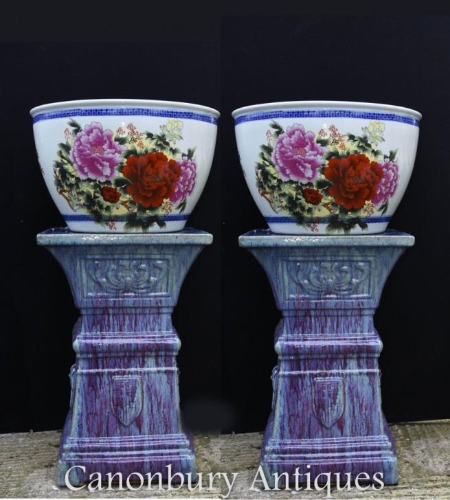Pair Chinese Fish Bowl Porcelain Planter Pots