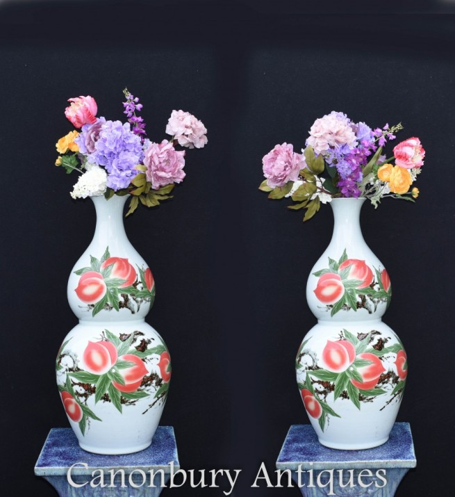 Pair Chinese Porcelain Vases - Double Gourd Wucai Urns