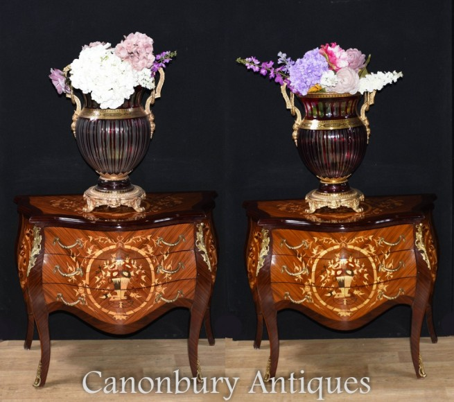 Pair French Commodes - Louis XVI Chests of Drawers