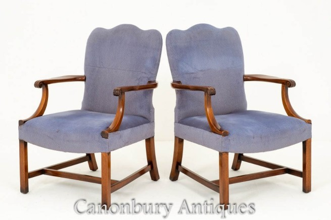 Pair Gainsborough Arm Chairs Mahogany Antique