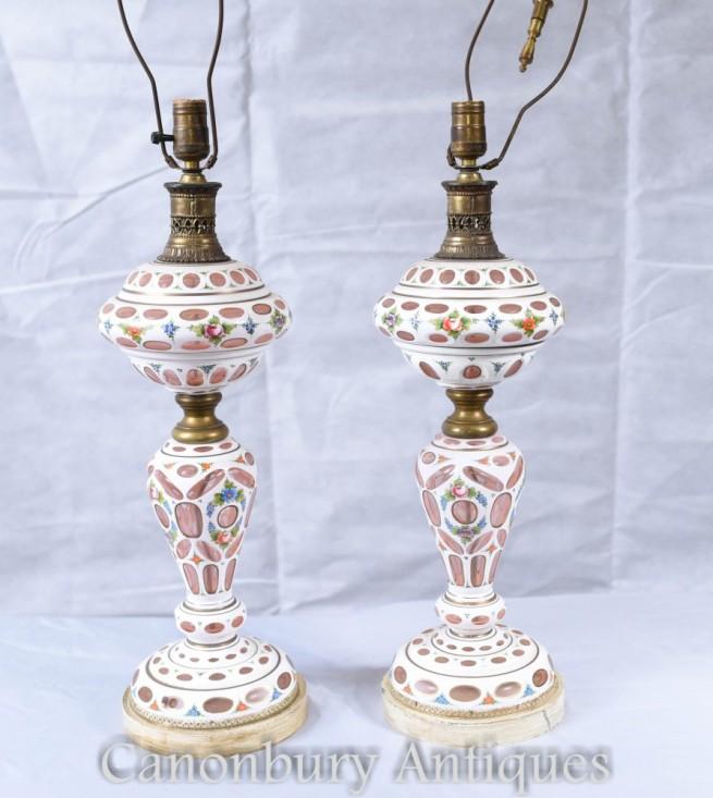 Pair German Porclain Table Lamps - Antique Bohemian Glass Lights