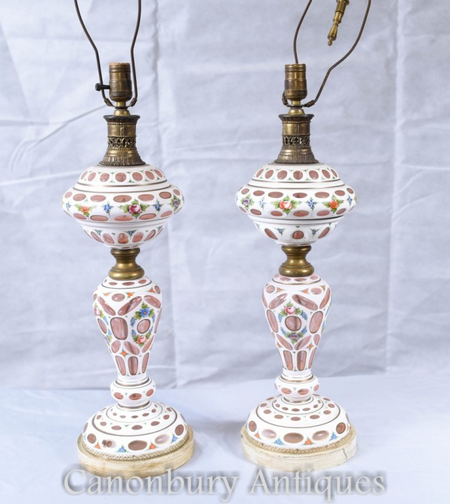 Pair German Porclain Table Lamps - Antique Bohemian Glass Lights