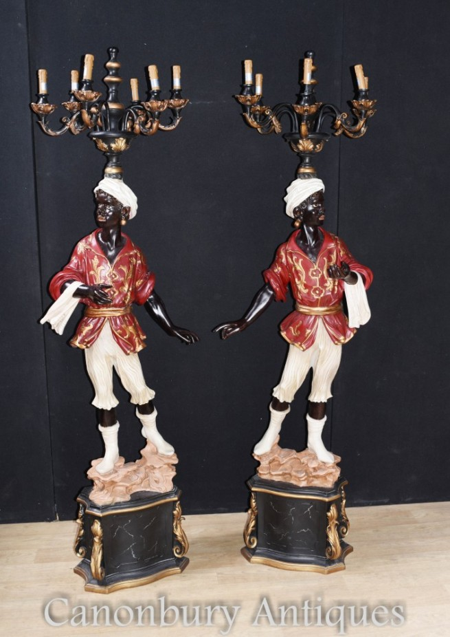 Pair Italian Venetian Blackamoor Candelabras Statues