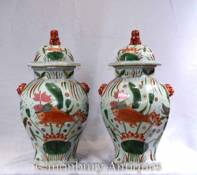 Pair Ming Porcelain Temple Jars - Chinese Vases Urns