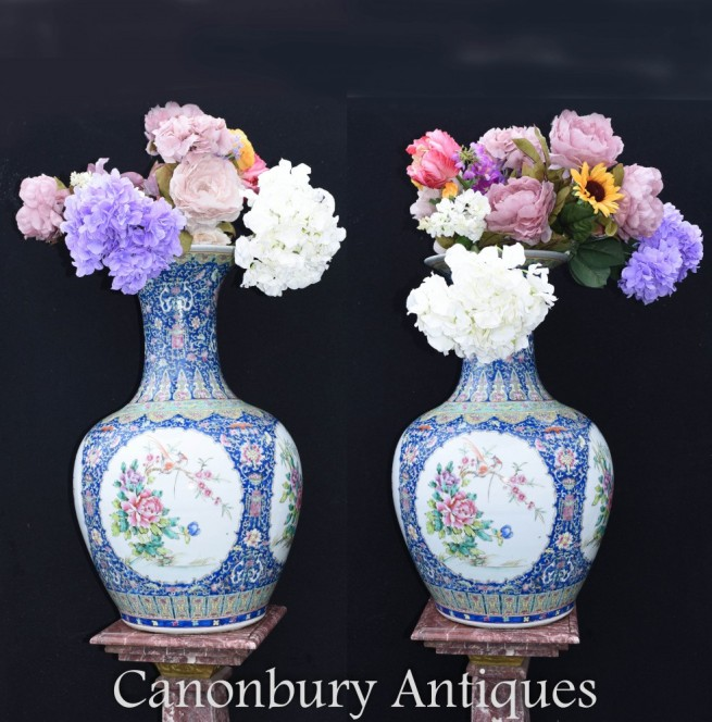Pair Ming Porcelain Vases - Chinese Shanping Temple Urns