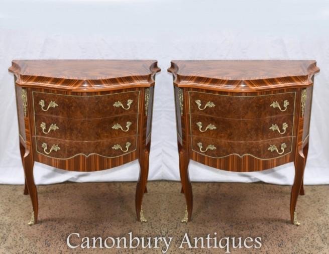 Pair Regency Bedside Chests - Walnut Nightstands