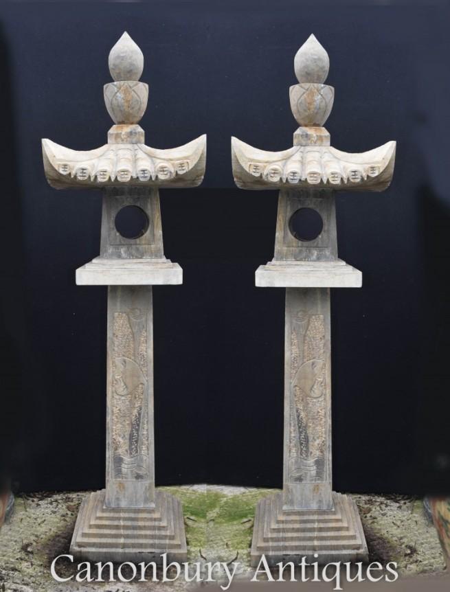 Pair Stone Japanese Pagoda Lantern Columns Garden Statue